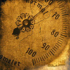Vintage texture, old hygrometer close up
