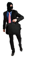 Businessman thief stealing a briefcase