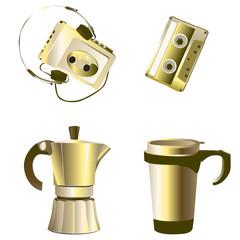 golden retro objects