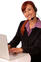 Customer Service Operator with computer