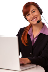 Customer Support Agent with Laptop