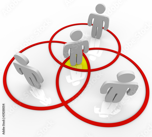 Venn Diagram People in Overlapping Circles Connections