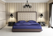Chic luxury hotel biege, purple, bedroom, with chandelier front