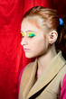 Portrait of beautiful girl model with bright makeup