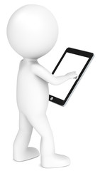 3D little human with Tablet Pad. Blank screen for copy space.