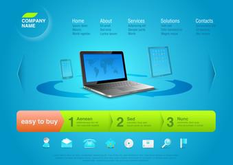 Website template: e-business solutions. Editable