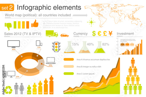 Infographics design template set 2. Editable.