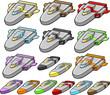 Spacecraft Spaceship design element Vector set