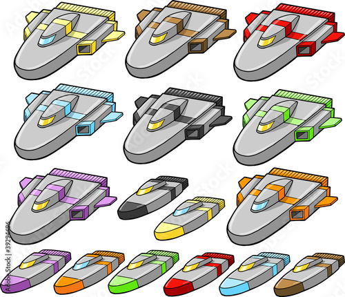 Spacecraft Spaceship design element Vector set
