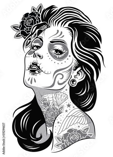Black and White Day of Dead Girl Vector Illustration