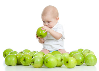 Funny child with green apples