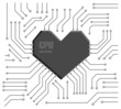 Vector motherboard with a heart shape CPU