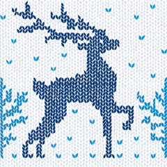 Knitted seamless background with a deer