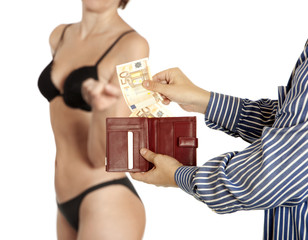 Man is paying for sex  (Euro banknotes)