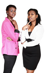 Business conversation two women serious expression