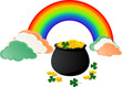 A Pot of Gold coins with Rainbow and Shamrock.