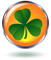 Glossy Orange Button with a Shamrock Symbol