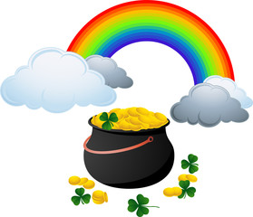 Vintage black pot full with gold coins and rainbow