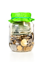Glass bank for tips with money