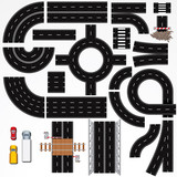 Isolated Connectable Road Elements and Vehicles. Map Kit