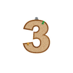 Vector set of cork board font with 3D pushpins - number 3