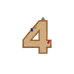 Vector set of cork board font with 3D pushpins - number 4