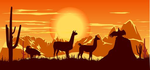 Wild llama and birds on the hot orange sky background