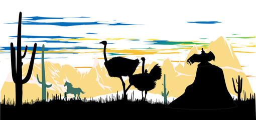 Wild ostriches, horse and vulture, sitting on a rock