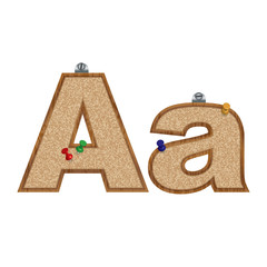 Vector set of cork board font with 3D pushpins - letter A