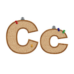 Vector set of cork board font with 3D pushpins - letter C