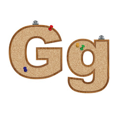 Vector set of cork board font with 3D pushpins - letter G