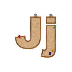 Vector set of cork board font with 3D pushpins - letter J