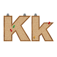 Vector set of cork board font with 3D pushpins - letter K