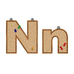 Vector set of cork board font with 3D pushpins - letter N