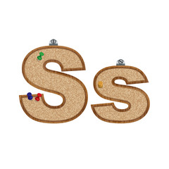Vector set of cork board font with 3D pushpins - letter S