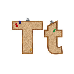 Vector set of cork board font with 3D pushpins - letter T