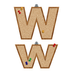 Vector set of cork board font with 3D pushpins - letter W