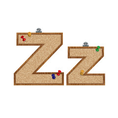 Vector set of cork board font with 3D pushpins - letter Z