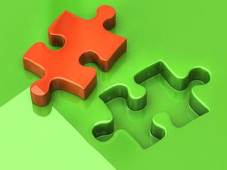 Orange jigsaw puzzle piece