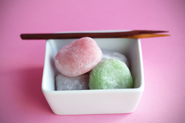 Mochi colorful japanese rice cakes, dessert