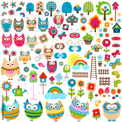 Poster Vlinders owls and garden themed elements