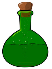 The green bottle with a cork