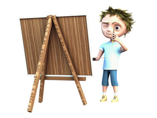 boy draws a picture isolated