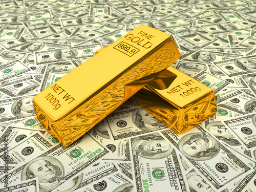 Gold bars on dollars