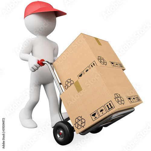 3D worker pushing a hand truck with boxes