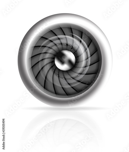 Jet engine front view isolated on white