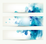 set of three banners, abstract headers with blue blots