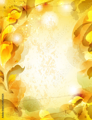Scrap background  with abstract leaves