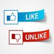 Like and unlike symbols. Thumb up and thumb down signs