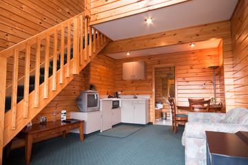 Lodge apartment wooden interior detail